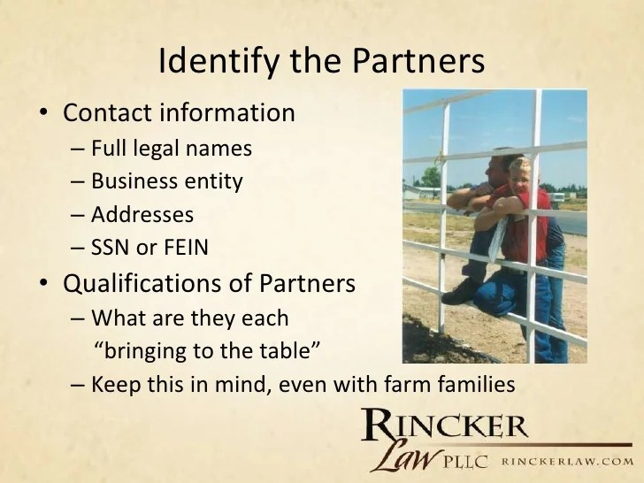 Partnership Agreements for the Agriculture Community