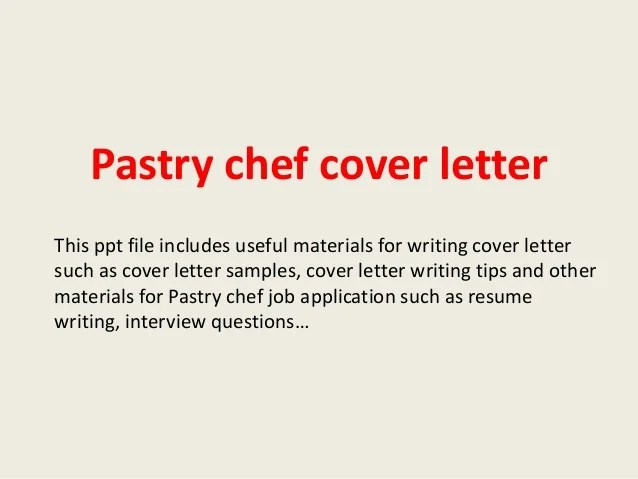 Pastry Chef Cover Letter