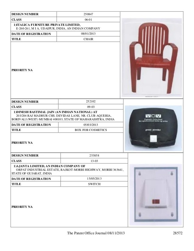 chair design patent academy sports beach chairs registration in india office publishes