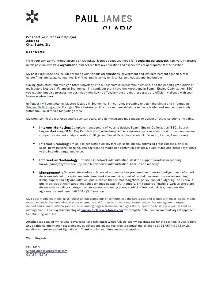 cover letter for social media coordinator