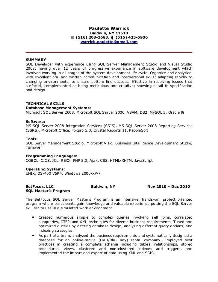 plsql sample resume