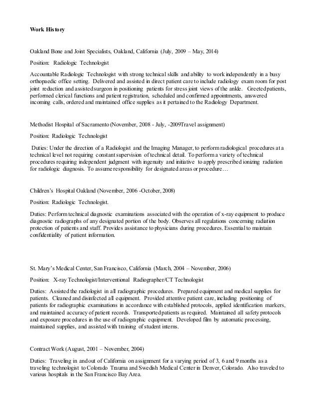 Radiology Tech Resumes  Radiology Tech Resume