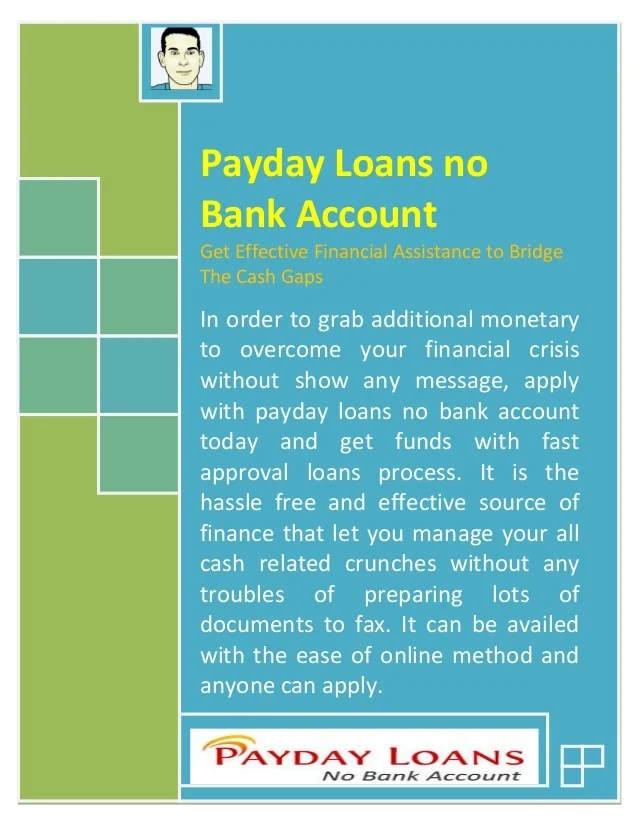 Image Result For Quick Cash Loans With No Bank Account