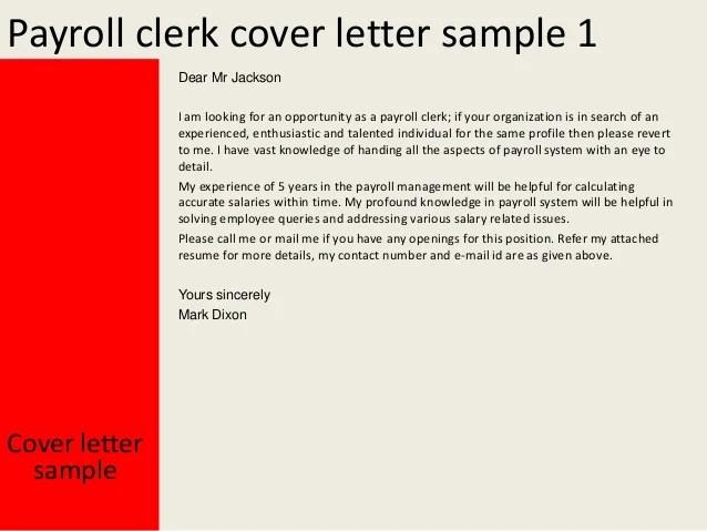Payroll clerk cover letter