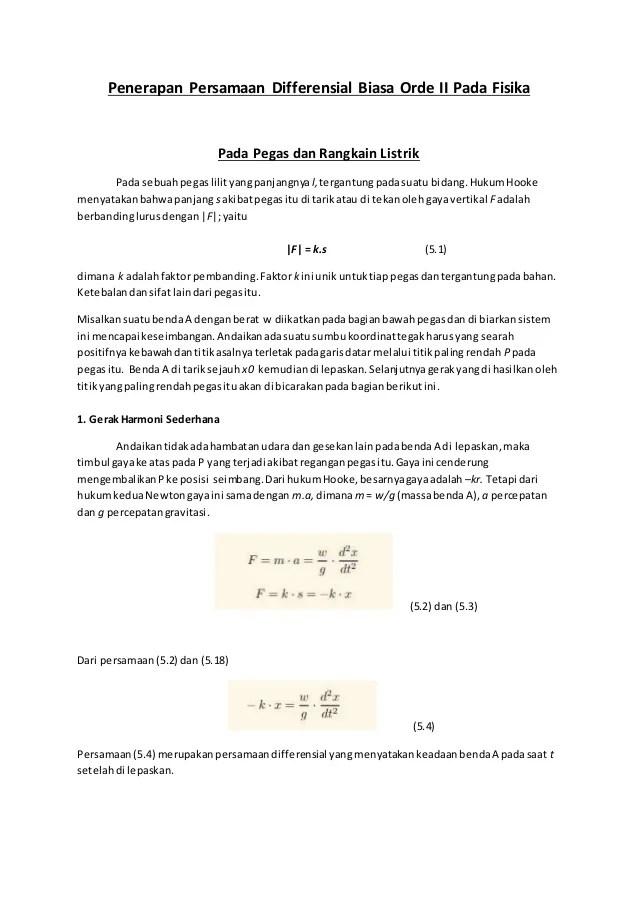 Makalah Persamaan Diferensial Orde 2 : makalah, persamaan, diferensial, Aplikasi, Persamaan, Differensial, Biasa
