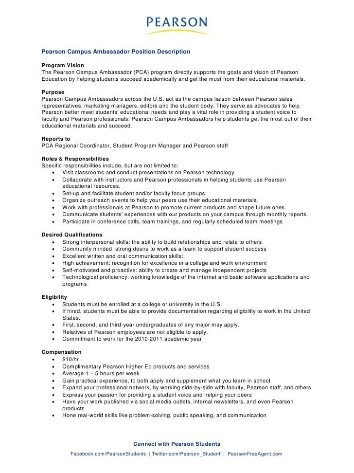 Pearson Campus Ambassador Job Description