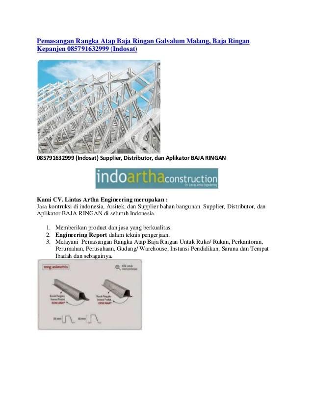 pemasangan atap baja ringan balikpapan rangka galvalum malang kepan