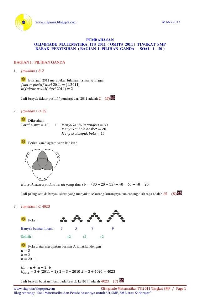 Soal Olimpiade Matematika Smp Dan Pembahasan : olimpiade, matematika, pembahasan, Pembahasan, Olimpiade, Matematika, Tingkat, Babak, Penyisihan…