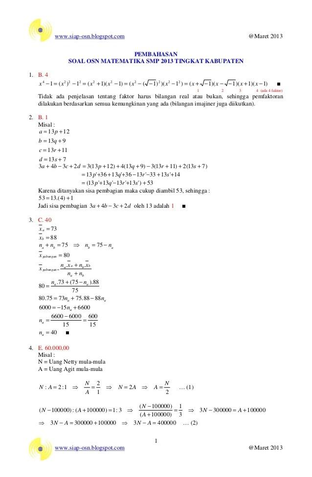 Pembahasan Soal Olimpiade Matematika ~ MGMP Matematika SMP