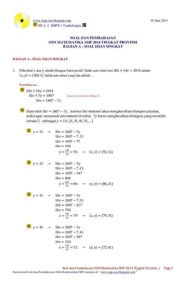 Soal Olimpiade Matematika Sd Dan Pembahasannya : olimpiade, matematika, pembahasannya, Pembahasan, Matematika, Tingkat, Provinsi, (bagian, Is…