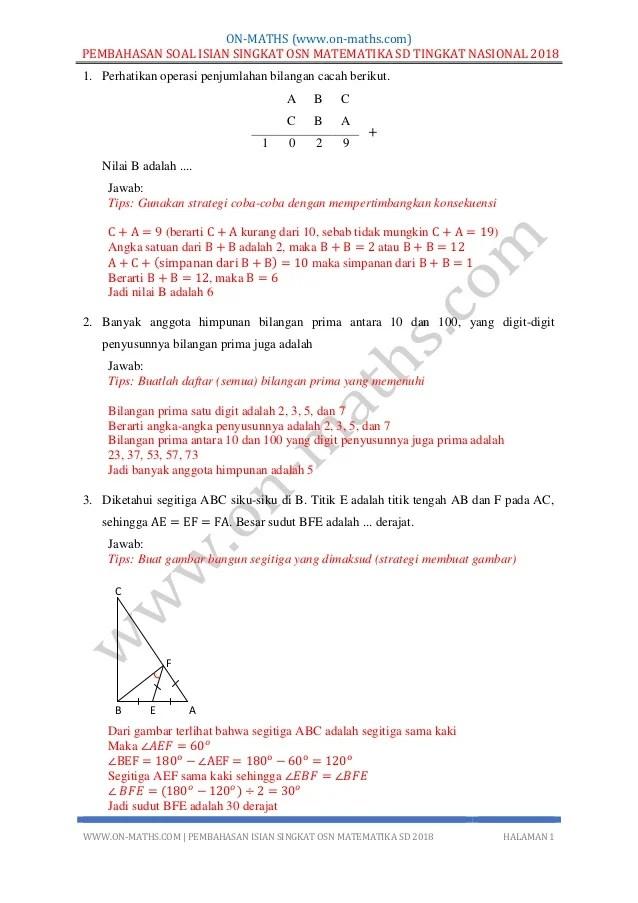 Soal Olimpiade Matematika Sd Dan Pembahasannya : olimpiade, matematika, pembahasannya, Pembahasan, Isian, Singkat, Matematika, Tingkat, Nasional