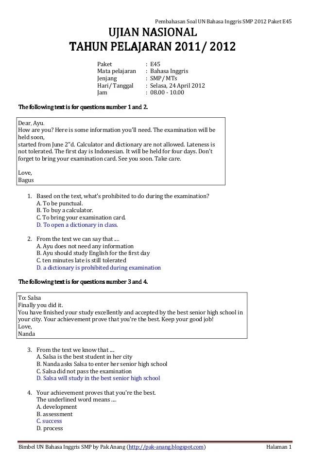 Contoh Soal Un Bahasa Inggris Smp Dan Pembahasannya : contoh, bahasa, inggris, pembahasannya, Pembahasan, Bahasa, Inggris, Paket, Cute766