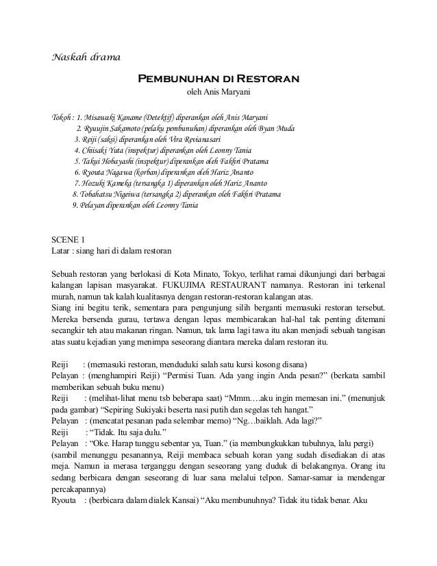 Naskah Drama Klasik : naskah, drama, klasik, Naskah, Drama, Jepang, Pembunuhan, Restoran