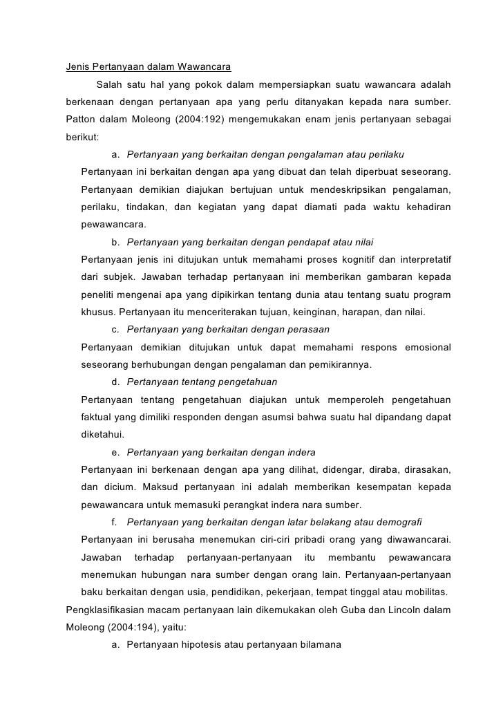 Contoh Pertanyaan Wawancara Penelitian Skripsi Sistem Informasi Kumpulan Berbagai Skripsi