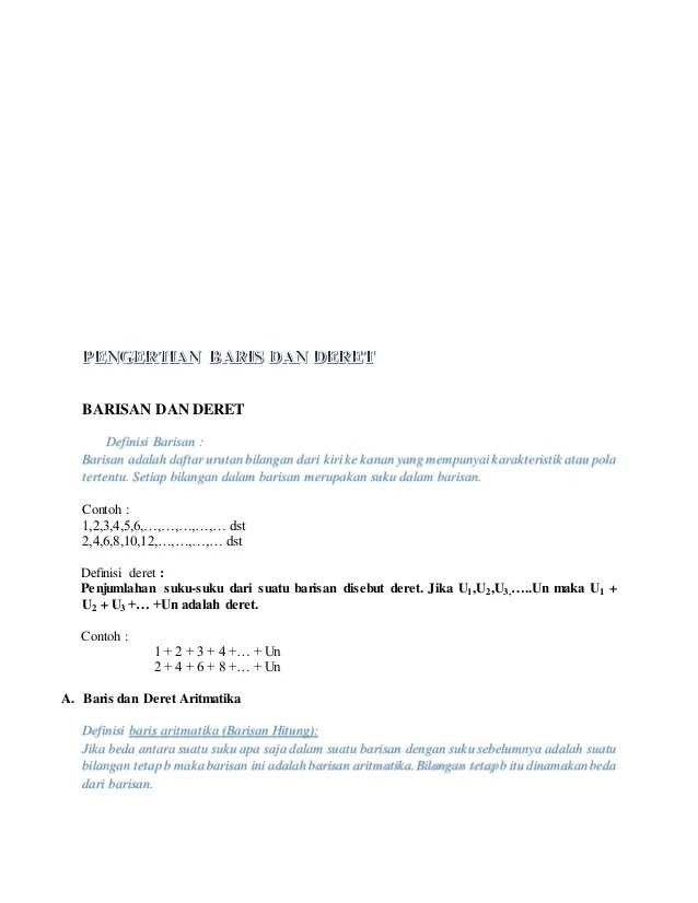 Pengertian Barisan Aritmatika : pengertian, barisan, aritmatika, Pengertian, Baris, Deret