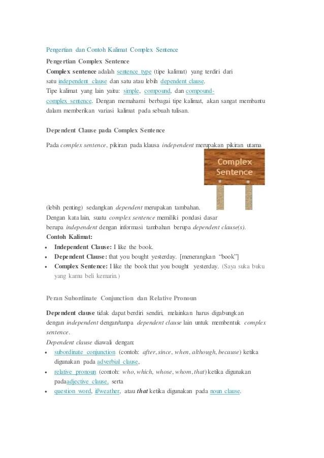 Contoh Kalimat As : contoh, kalimat, Pengertian, Contoh, Kalimat, Complex, Sentence