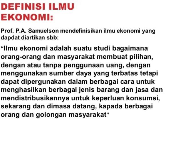 Menurut Sadono Sukirno Ilmu Ekonomi