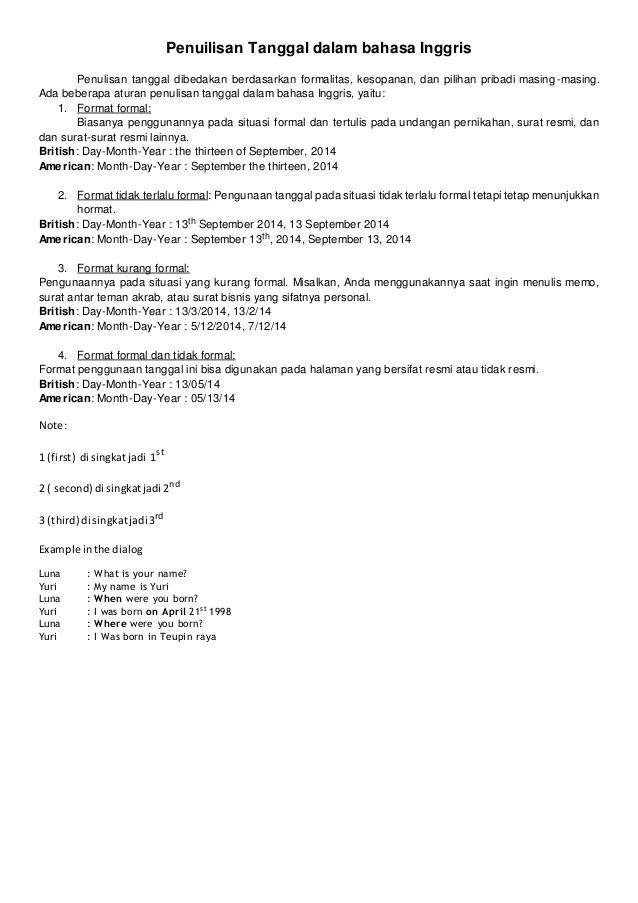 Penulisan Tanggal Surat Dalam Bahasa Inggris : penulisan, tanggal, surat, dalam, bahasa, inggris, Penuilisan, Tanggal, Dalam, Bahasa, Inggris