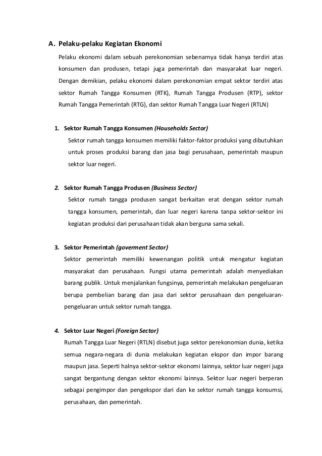 √Peran Pelaku Ekonomi : Rumah Tangga RTK, RTP dan Luar