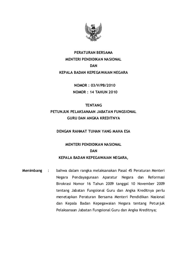 Peraturan Bersama Mendiknas Dan Bkn Tentang Jabatan