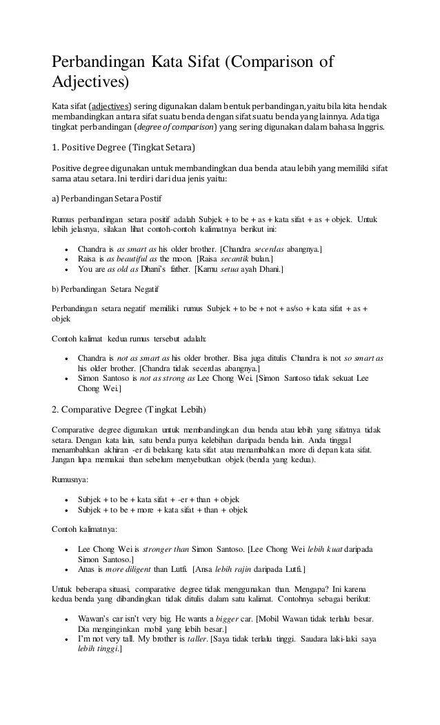 Contoh Kalimat Kata Sifat : contoh, kalimat, sifat, Perbandingan, Sifat, Dalam, Bahasa, Inggris