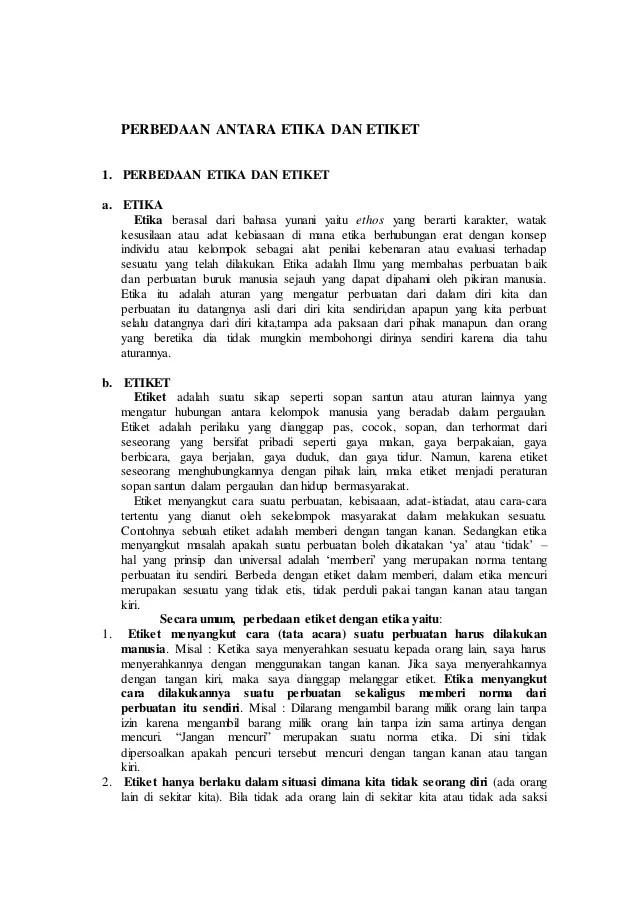 Perbedaan Etika Dan Etiket : perbedaan, etika, etiket, Perbedaan, Antara, Etika, Etiket