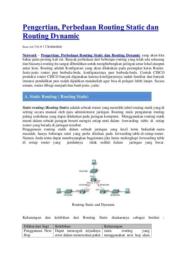 Perbedaan Ip Statis Dan Dinamis : perbedaan, statis, dinamis, Perbedaan, Dynamik, Statik, Routing