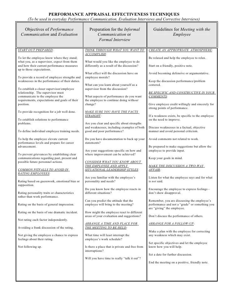 Performance Appraisal Effectiveness Techniques
