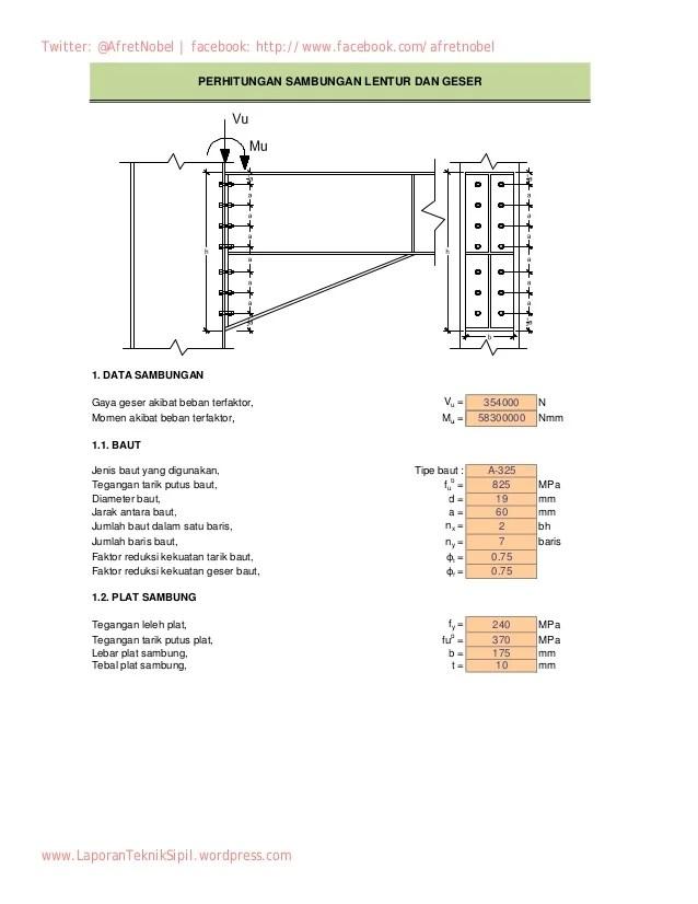 Perhitungan Kolom Baja Dengan Excel : perhitungan, kolom, dengan, excel, Perhitungan, Sambungan, Lentur, Geser, Balok