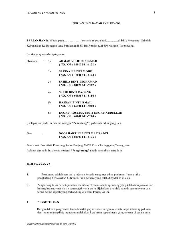 Surat Perjanjian Pembayaran Hutang : surat, perjanjian, pembayaran, hutang, Perjanjian, Bayaran, Hutang