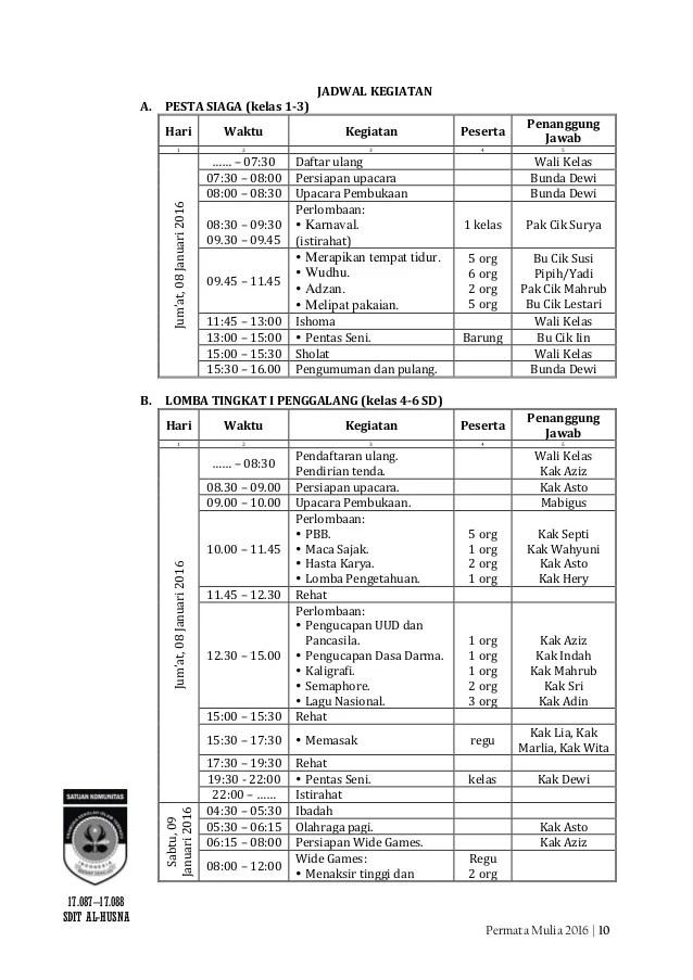 Proposal Permata Mulia 2016 Pesta Siaga dan Lomba Tingkat 1