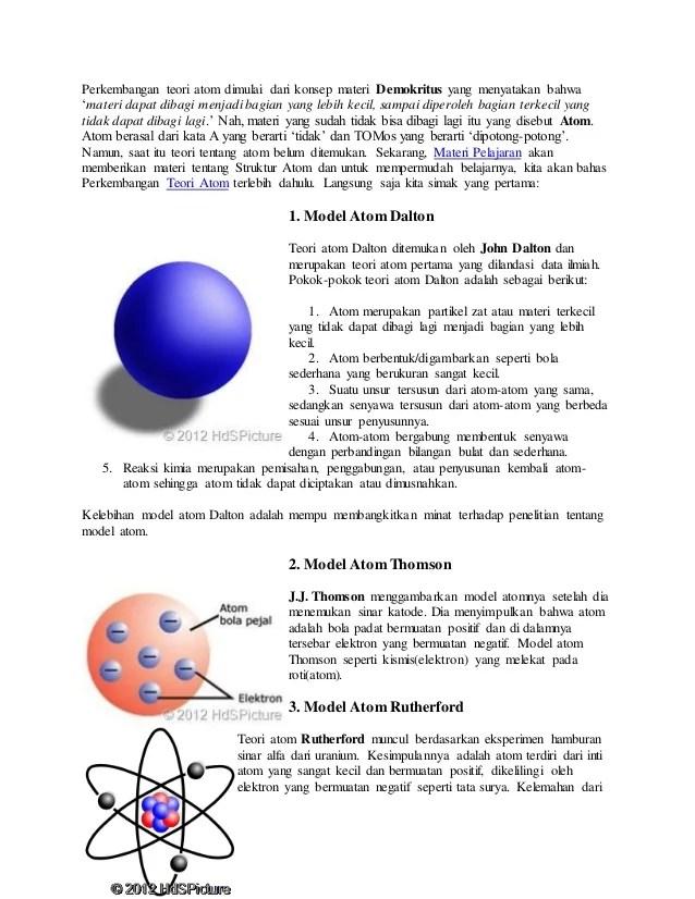 Kelemahan Teori Atom Dalton : kelemahan, teori, dalton, Perkembangan, Teori
