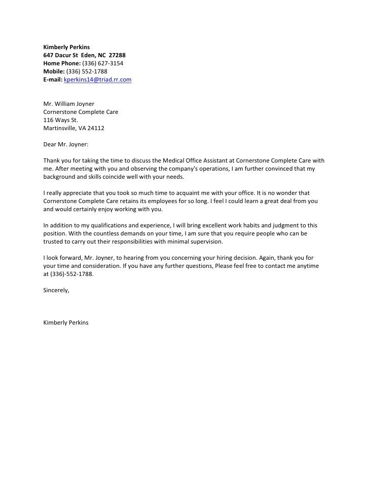 Perkins Kimberly Follow Up Letter