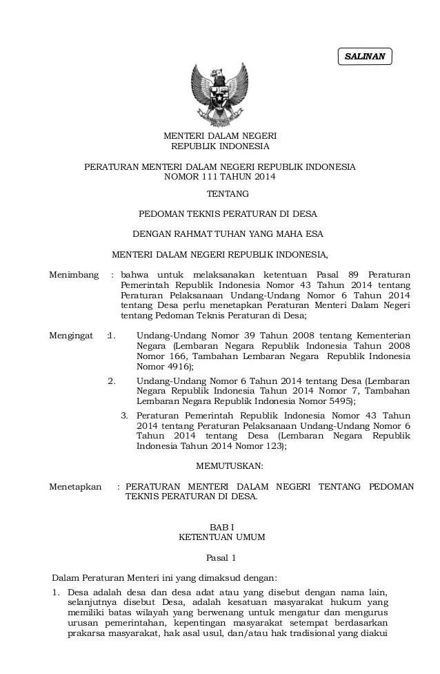Permendagri No 111 Tahun 2014 Pdf : permendagri, tahun, Permendagri