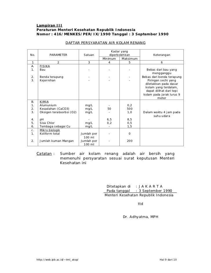 Tuliskan Syarat Fisik Air Bersih Layak Minum : tuliskan, syarat, fisik, bersih, layak, minum, Permen, Kesehatan,, 416/Men.Kes/PER/IX/1990, Tentang, Syarat-syarat