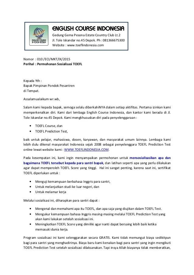 Surat Permohonan Sosialisasi : surat, permohonan, sosialisasi, Permohonan, Sosialisasi, TOEFL, Pesantren, BrankasArsip.com
