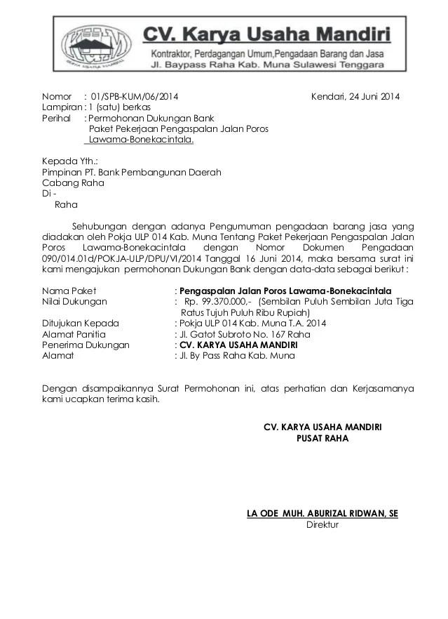 Surat Permohonan Dukungan Bank - PDF Free Download