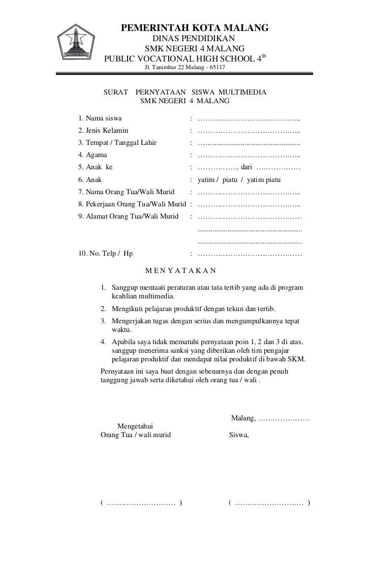 Surat Pernyataan Siswa Form Template   JotForm