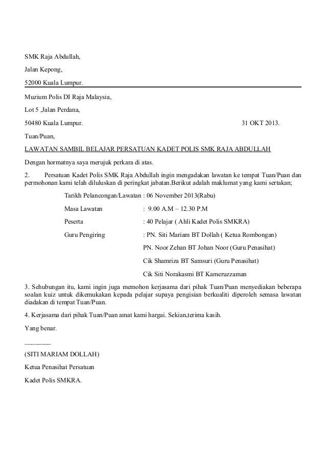 Surat Rasmi Pemberitahuan Lawatan