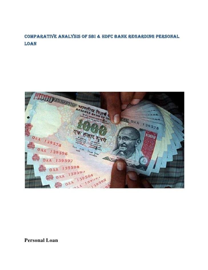 Comparative Analysis Of Sbi Hdfc Bank Regarding Personal
