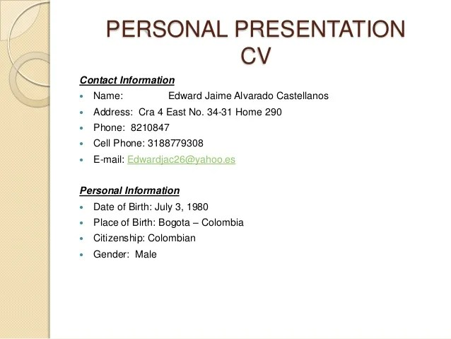 personal information in cv example