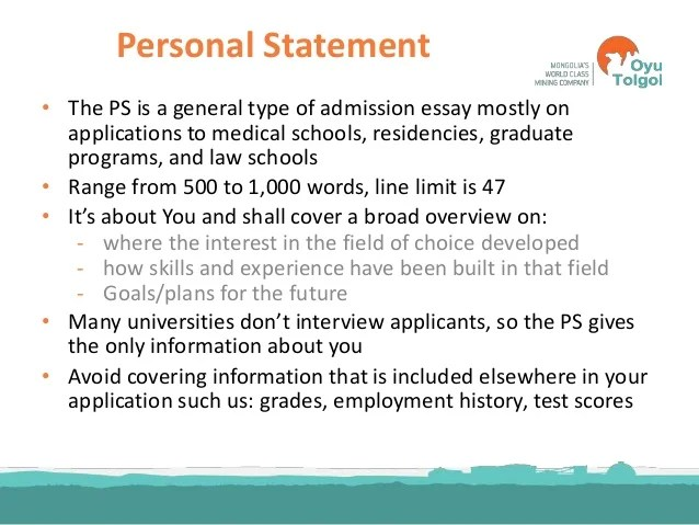 Words For Personal Statement Things Not To Put In Your