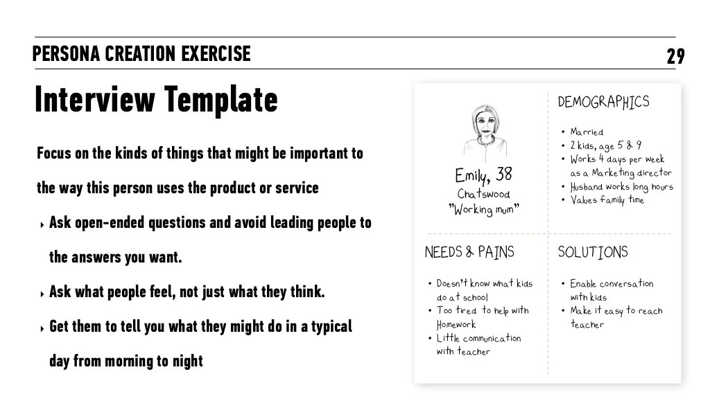 29PERSONA CREATION EXERCISE Interview Template