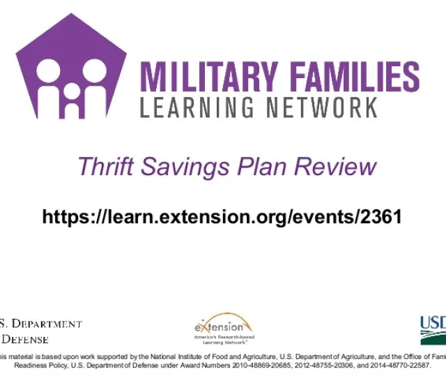 Thrift Savings Plan Review Https Learn Extension Org Events