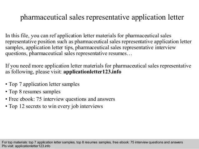 Pharmaceutical Sales Representative Application Letter