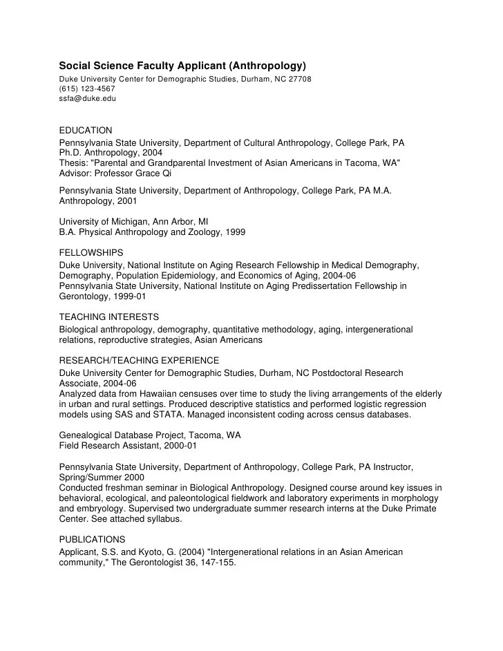 sample anthropology resume grad school