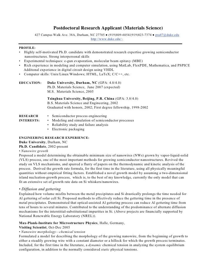 materials science phd resume samples