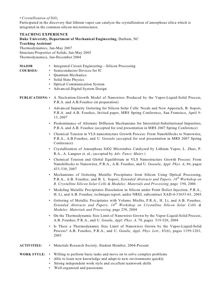 Resume Objective For Phd Application