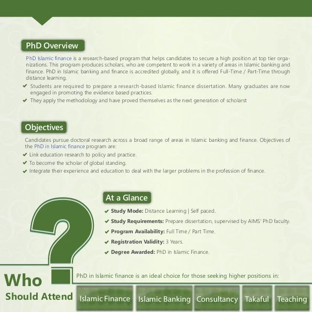 PhD Islamic Banking and Finance