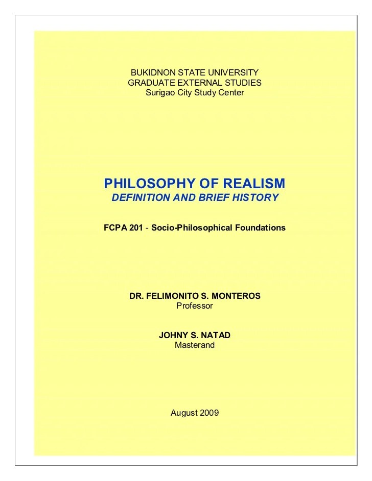 Philosophy Of Realism Defination And Brief History